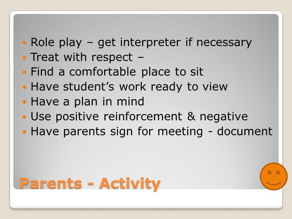Parents - Activity Role play – get interpreter if necessary Treat with respect – Find a comfortable place to sit Have student's work ready to view Have a plan in mind Use positive reinforcement & negative Have parents sign for meeting - document