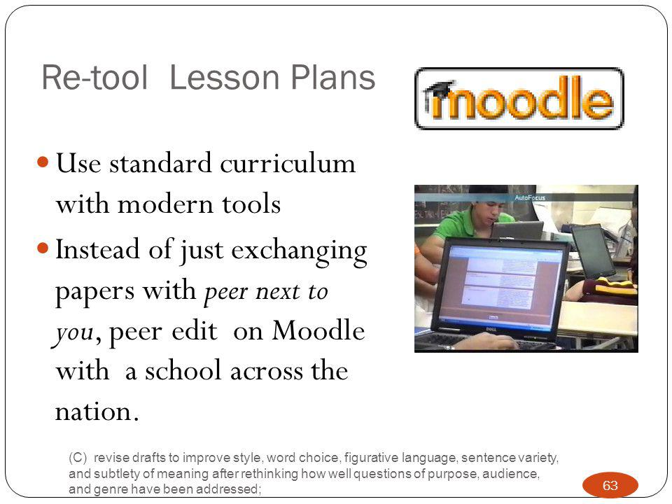 Re-tool Lesson Plans Use standard curriculum with modern tools Instead of just exchanging papers with peer next to you, peer edit on Moodle with a school across the nation.