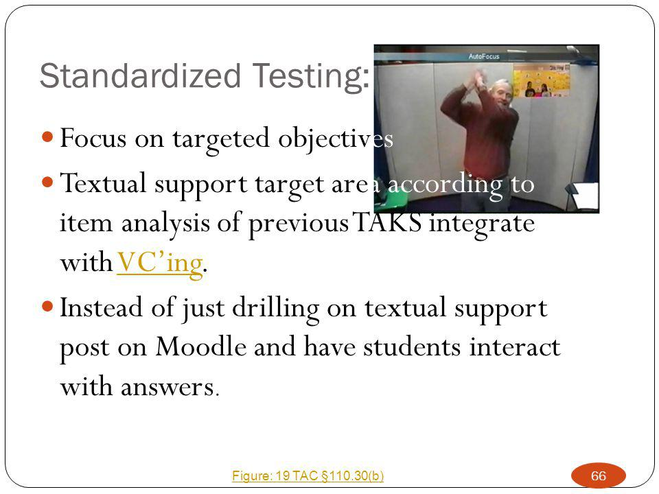 Standardized Testing: Focus on targeted objectives Textual support target area according to item analysis of previous TAKS integrate with VC'ing.VC'ing Instead of just drilling on textual support post on Moodle and have students interact with answers.