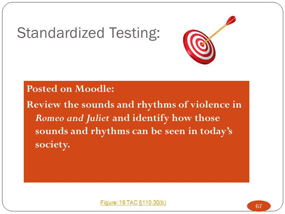 Standardized Testing: Posted on Moodle: Review the sounds and rhythms of violence in Romeo and Juliet and identify how those sounds and rhythms can be seen in today's society.