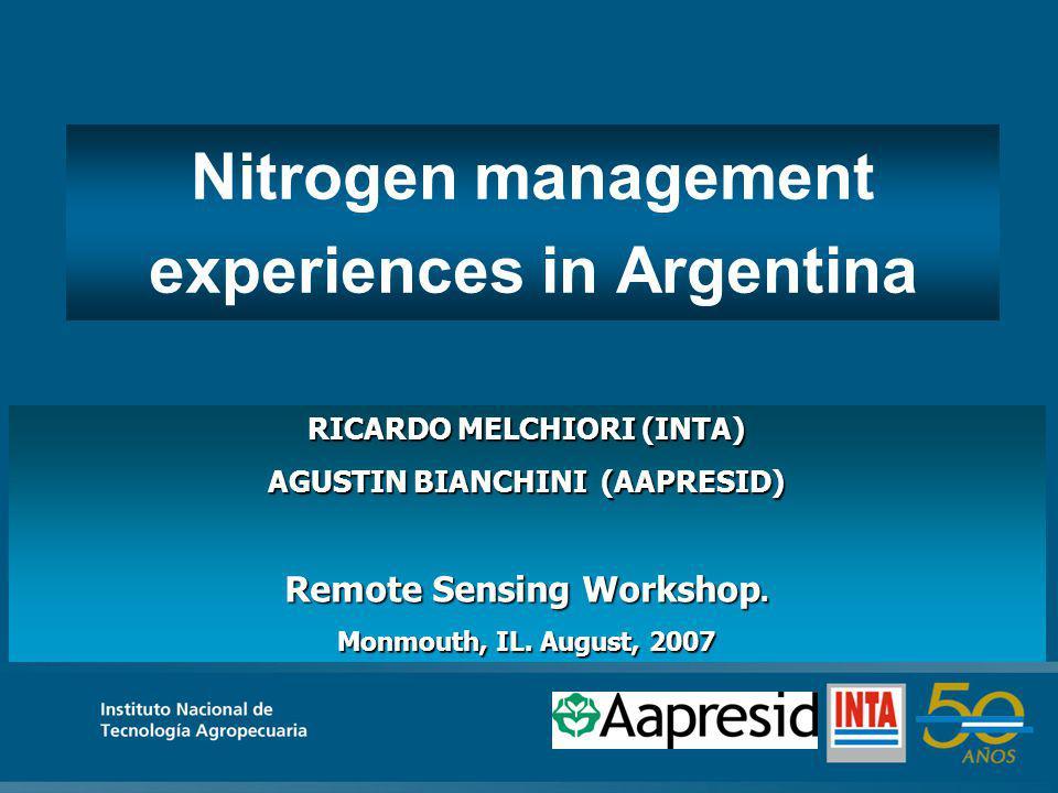 RICARDO MELCHIORI (INTA) AGUSTIN BIANCHINI (AAPRESID) Remote Sensing Workshop.