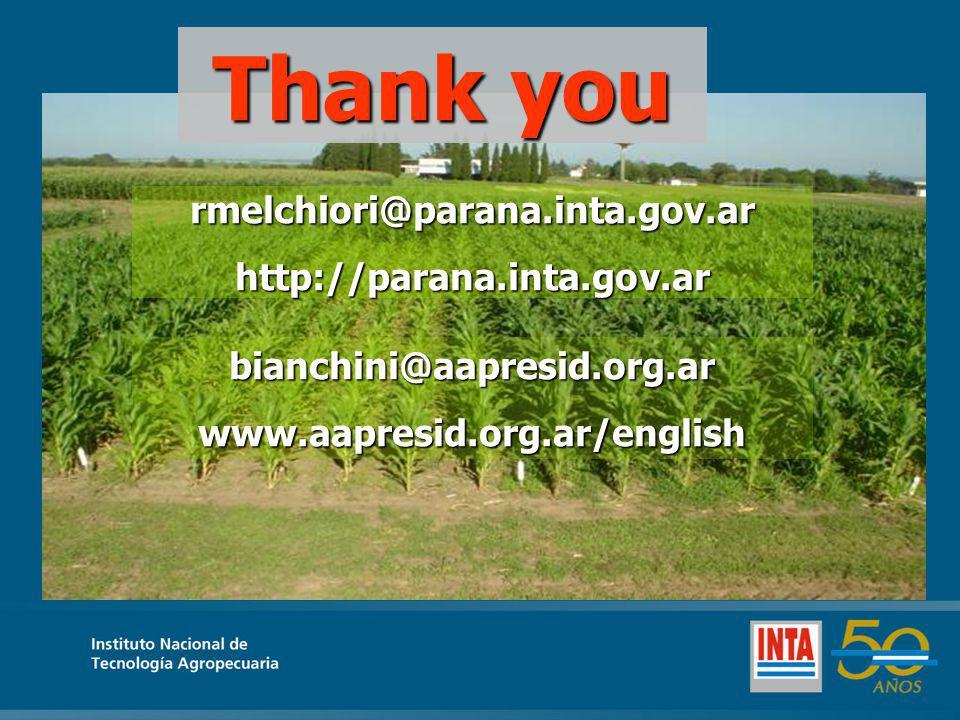 Thank you rmelchiori@parana.inta.gov.ar http://parana.inta.gov.ar bianchini@aapresid.org.ar www.aapresid.org.ar/english