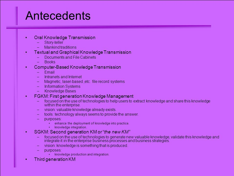 Antecedents Oral Knowledge Transmission –Story-teller –Mankind traditions Textual and Graphical Knowledge Transmission –Documents and File Cabinets –Books Computer-Based Knowledge Transmission –Email –Intranets and Internet –Magnetic, laser-based,etc.