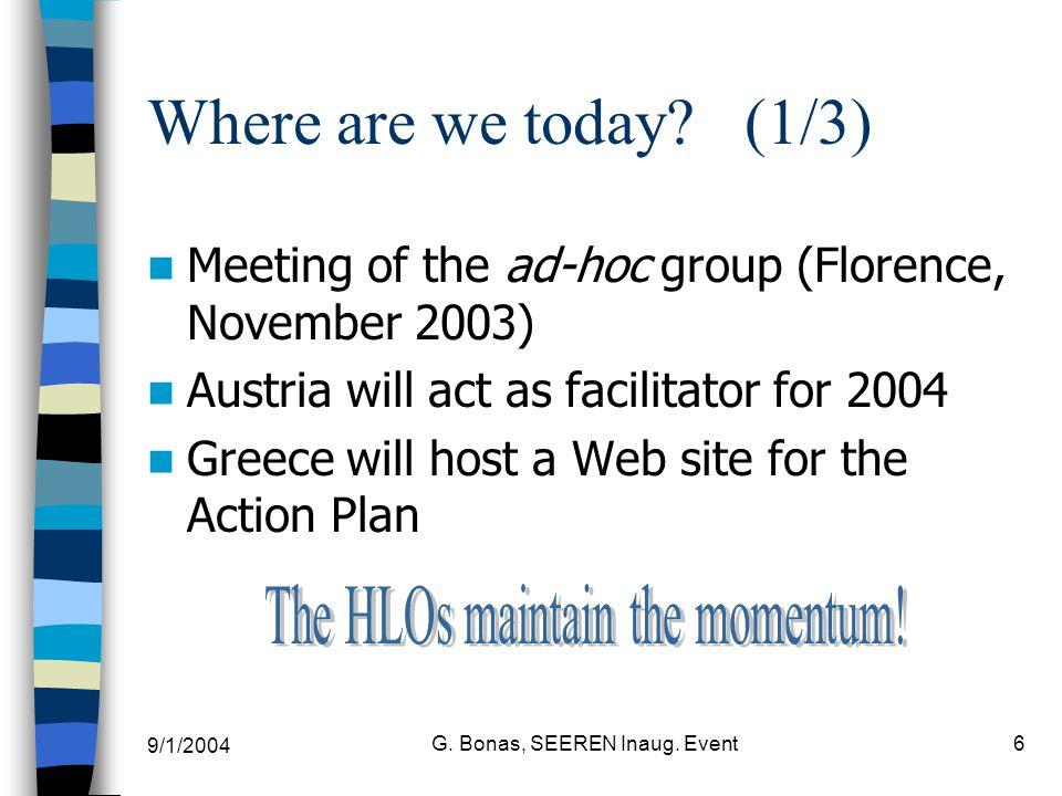 9/1/2004 G. Bonas, SEEREN Inaug. Event6 Where are we today.