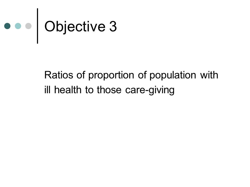Objective 3 Ratios of proportion of population with ill health to those care-giving