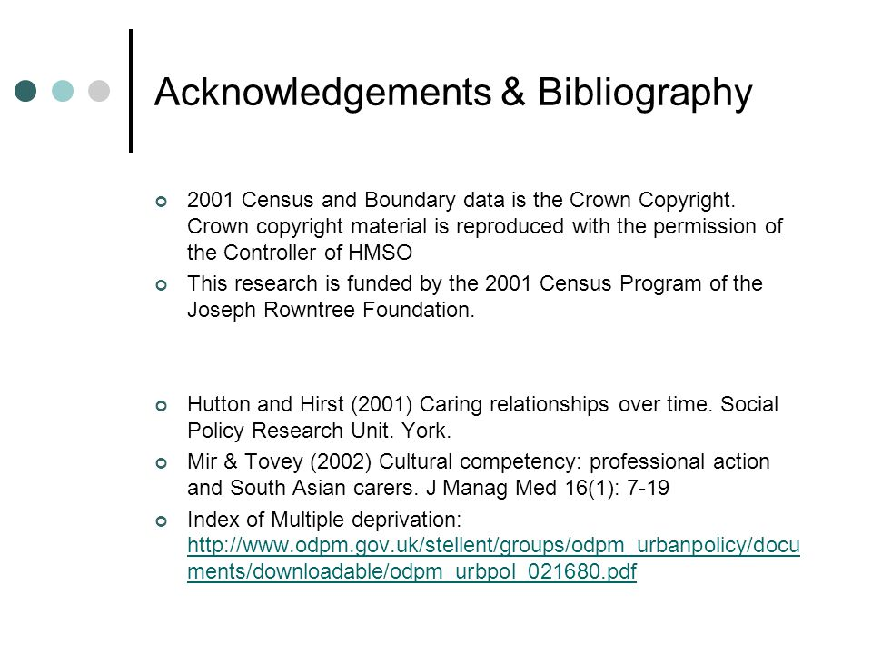 Acknowledgements & Bibliography 2001 Census and Boundary data is the Crown Copyright. Crown copyright material is reproduced with the permission of th