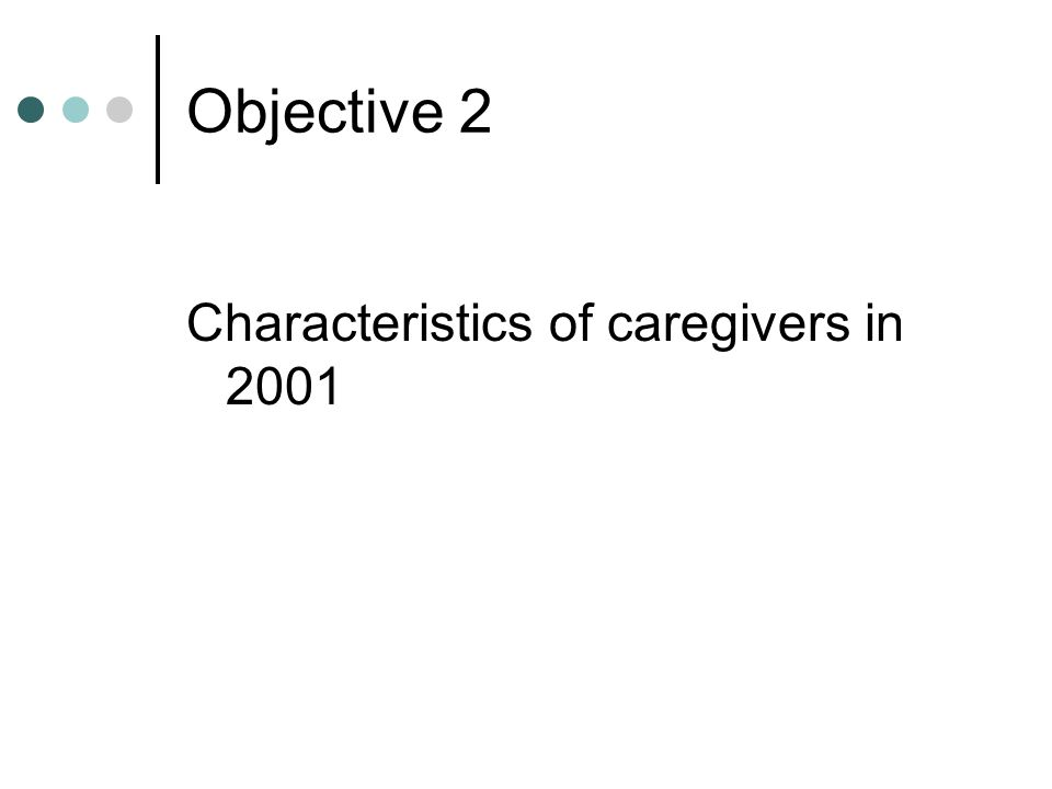 Objective 2 Characteristics of caregivers in 2001
