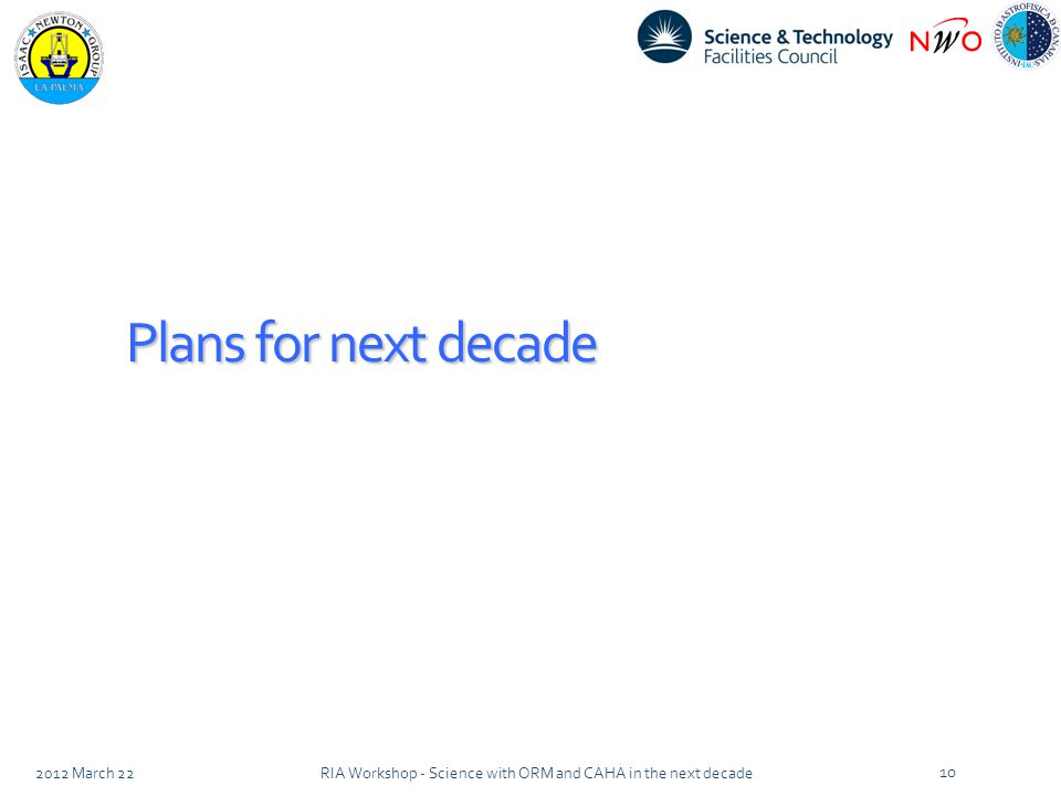 Plans for next decade 2012 March 22RIA Workshop - Science with ORM and CAHA in the next decade 10