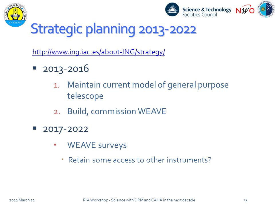 Strategic planning 2013-2022 http://www.ing.iac.es/about-ING/strategy/  2013-2016 1.Maintain current model of general purpose telescope 2.Build, commission WEAVE  2017-2022  WEAVE surveys  Retain some access to other instruments.