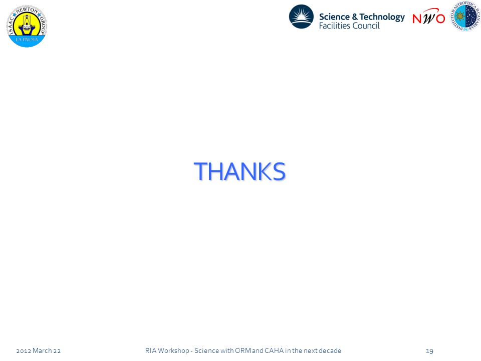 THANKS 2012 March 22RIA Workshop - Science with ORM and CAHA in the next decade 19