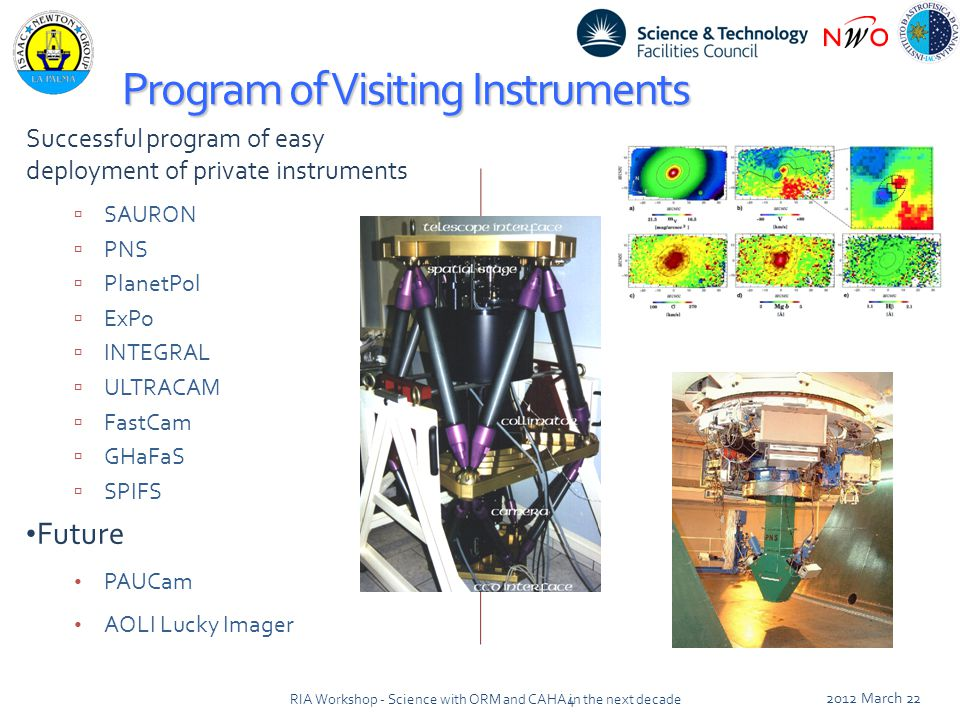 Program of Visiting Instruments Successful program of easy deployment of private instruments  SAURON  PNS  PlanetPol  ExPo  INTEGRAL  ULTRACAM  FastCam  GHaFaS  SPIFS Future PAUCam AOLI Lucky Imager 2012 March 22 4RIA Workshop - Science with ORM and CAHA in the next decade