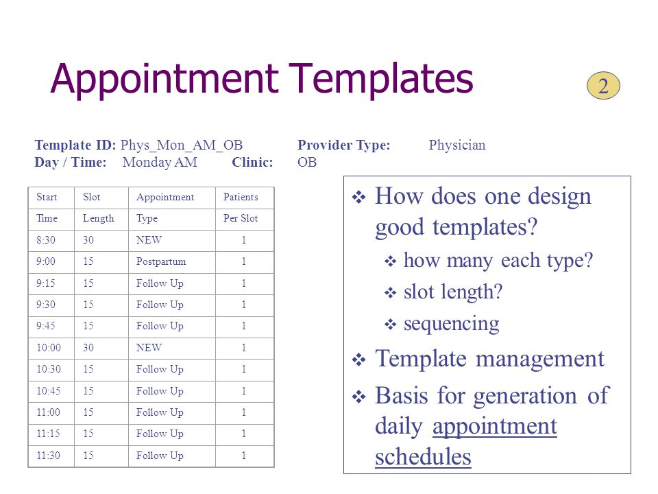 Appointment Templates StartSlotAppointmentPatients TimeLengthTypePer Slot 8:3030NEW1 9:0015Postpartum1 9:1515Follow Up1 9:3015Follow Up1 9:4515Follow Up1 10:0030NEW1 10:3015Follow Up1 10:4515Follow Up1 11:0015Follow Up1 11:1515Follow Up1 11:3015Follow Up1 Template ID: Phys_Mon_AM_OBProvider Type:Physician Day / Time: Monday AMClinic:OB  How does one design good templates.