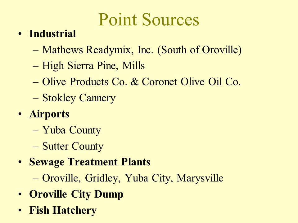 Point Sources Industrial –Mathews Readymix, Inc. (South of Oroville) –High Sierra Pine, Mills –Olive Products Co. & Coronet Olive Oil Co. –Stokley Can