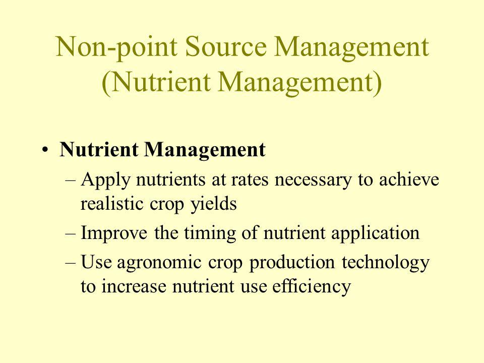 Non-point Source Management (Nutrient Management) Nutrient Management –Apply nutrients at rates necessary to achieve realistic crop yields –Improve th