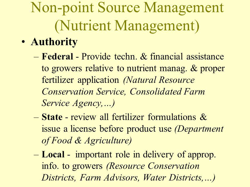Non-point Source Management (Nutrient Management) Authority –Federal - Provide techn. & financial assistance to growers relative to nutrient manag. &