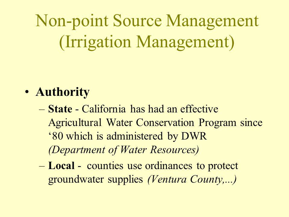 Non-point Source Management (Irrigation Management) Authority –State - California has had an effective Agricultural Water Conservation Program since '