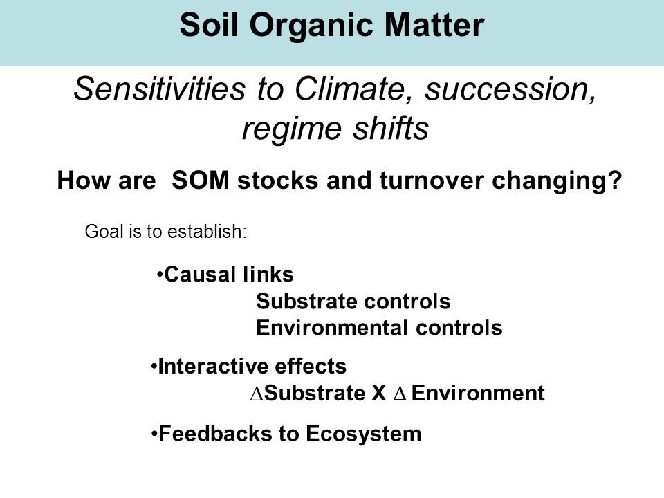 Sensitivities to Climate, succession, regime shifts Soil Organic Matter How are SOM stocks and turnover changing? Causal links Substrate controls Envi