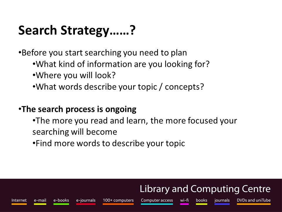 Search Strategy…….