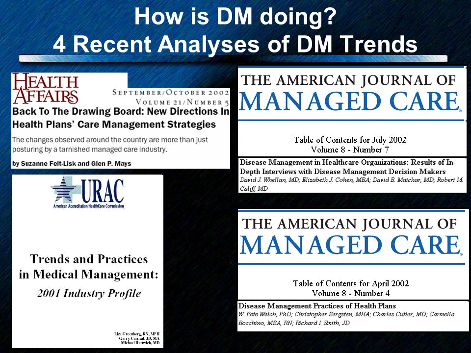 How is DM doing? 4 Recent Analyses of DM Trends