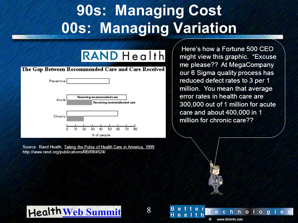 © www.bhtinfo.com 8 90s: Managing Cost 00s: Managing Variation Source: Rand Health, Taking the Pulse of Health Care in America, 1999 http://www.rand.org/publications/RB/RB4524/ Here's how a Fortune 500 CEO might view this graphic.