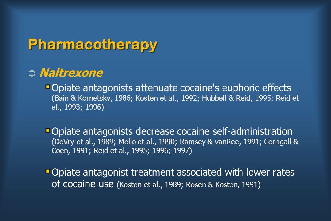 Pharmacotherapy  Naltrexone Opiate antagonists attenuate cocaine's euphoric effects (Bain & Kornetsky, 1986; Kosten et al., 1992; Hubbell & Reid, 199