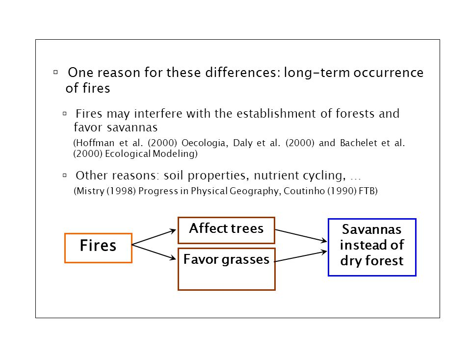 Fires Affect trees Favor grasses  Fires may interfere with the establishment of forests and favor savannas Savannas instead of dry forest (Hoffman et al.