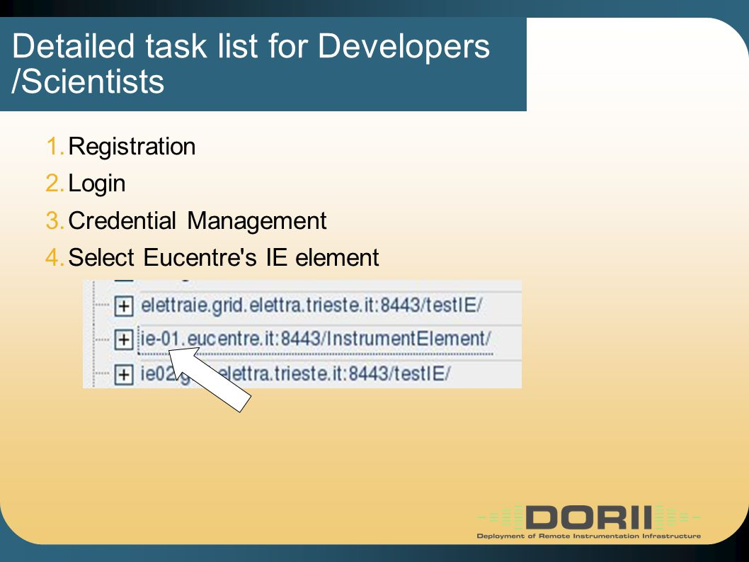 Detailed task list for Developers /Scientists 1.Registration 2.Login 3.Credential Management 4.Select Eucentre s IE element