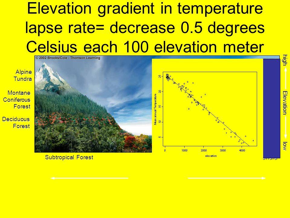 Elevation gradient in temperature lapse rate= decrease 0.5 degrees Celsius each 100 elevation meter MontaneConiferousForest DeciduousForest AlpineTund