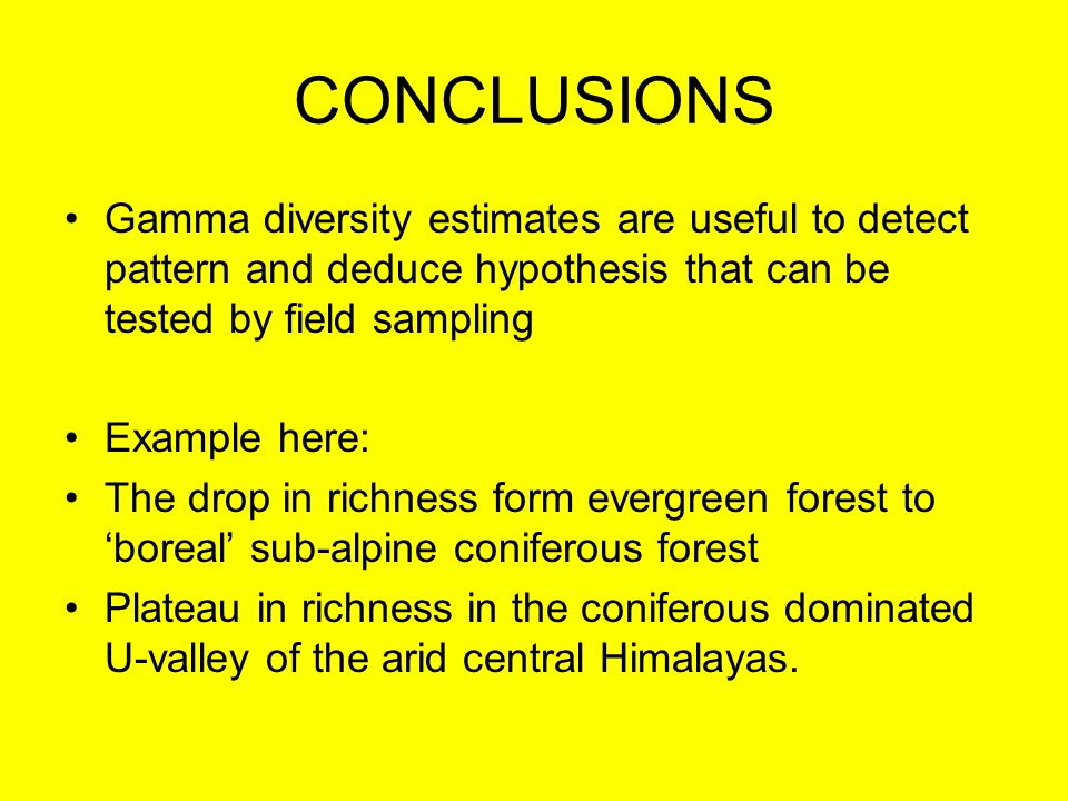 CONCLUSIONS Gamma diversity estimates are useful to detect pattern and deduce hypothesis that can be tested by field sampling Example here: The drop i