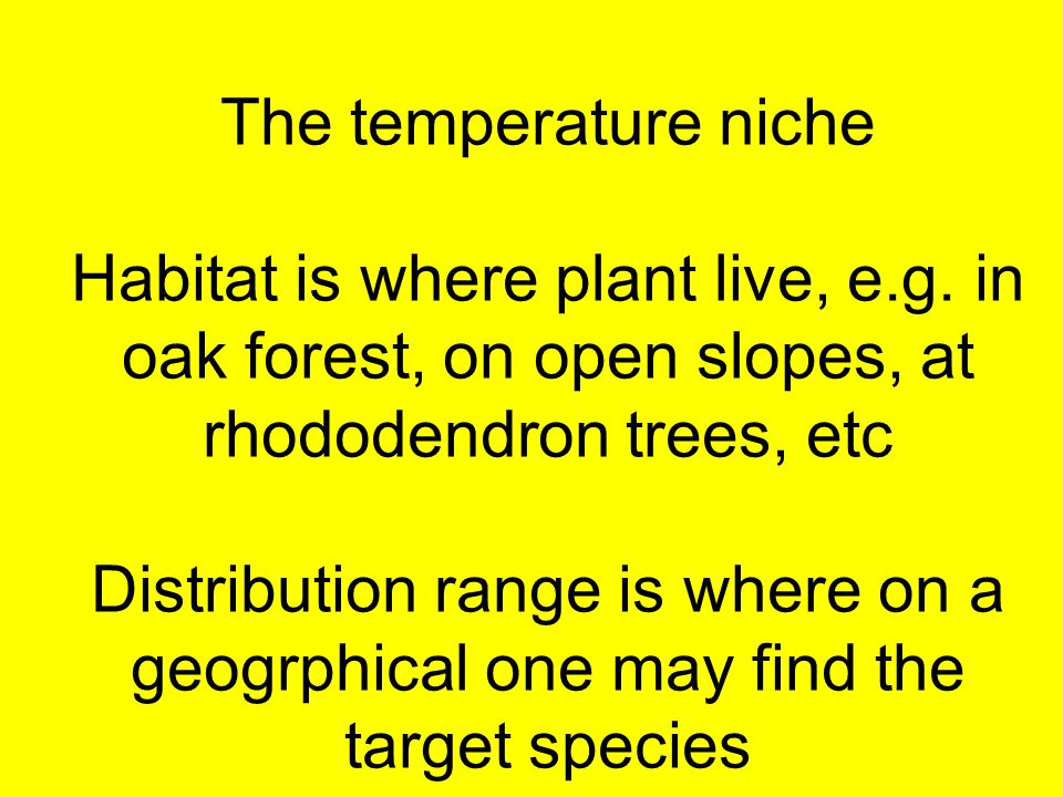 The temperature niche Habitat is where plant live, e.g. in oak forest, on open slopes, at rhododendron trees, etc Distribution range is where on a geo