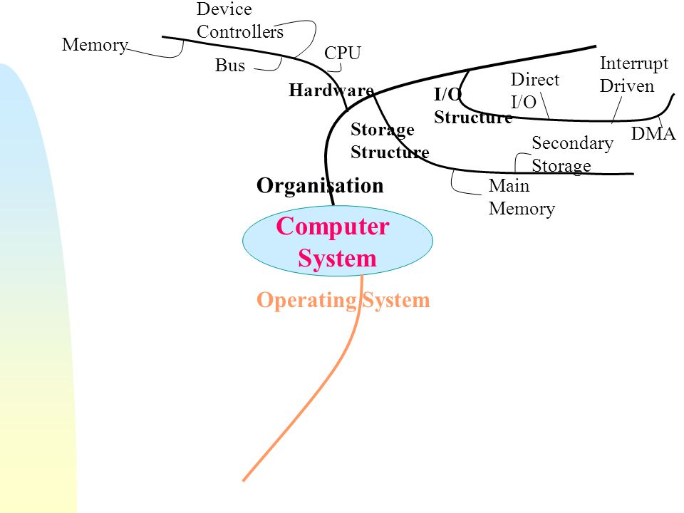 Computer System Organisation Operating System Hardware CPU Bus Device Controllers Memory Storage Structure I/O Structure Main Memory Secondary Storage