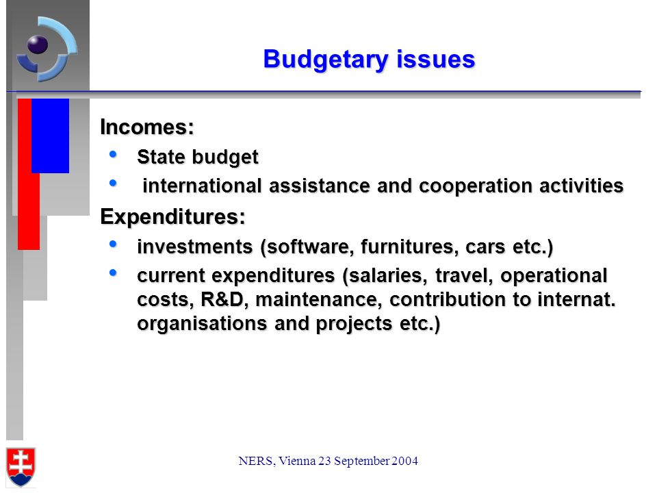 NERS, Vienna 23 September 2004 Budgetary issues Incomes: State budget State budget international assistance and cooperation activities international assistance and cooperation activitiesExpenditures: investments (software, furnitures, cars etc.) investments (software, furnitures, cars etc.) current expenditures (salaries, travel, operational costs, R&D, maintenance, contribution to internat.