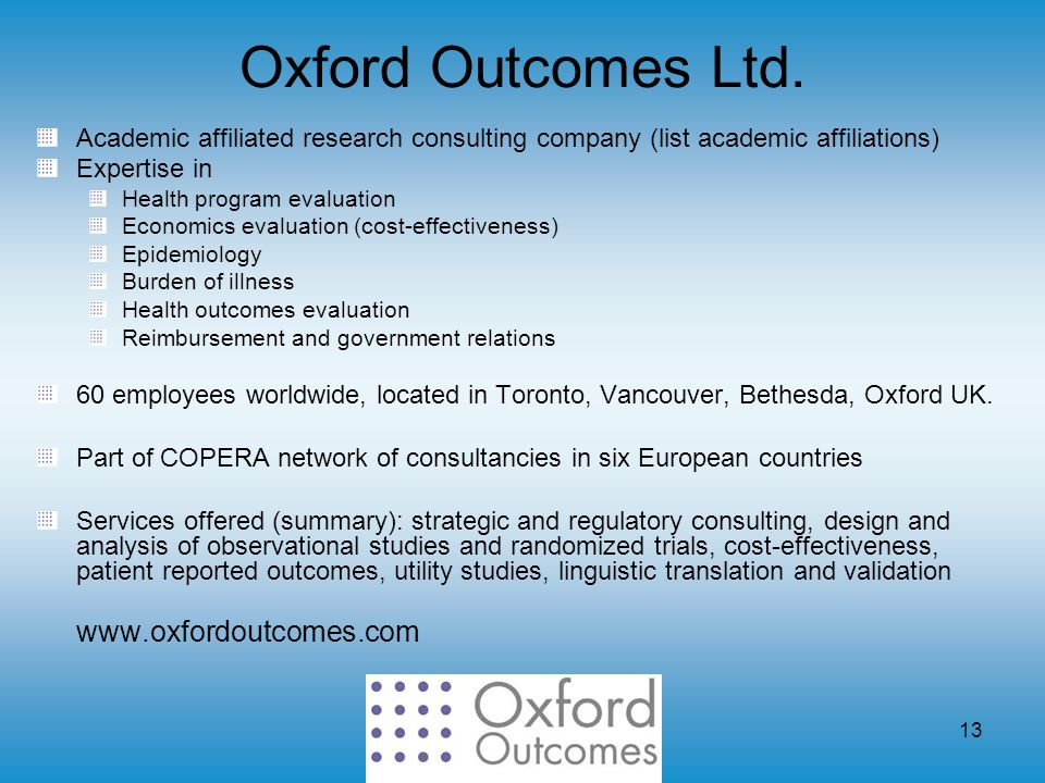 13 Oxford Outcomes Ltd.