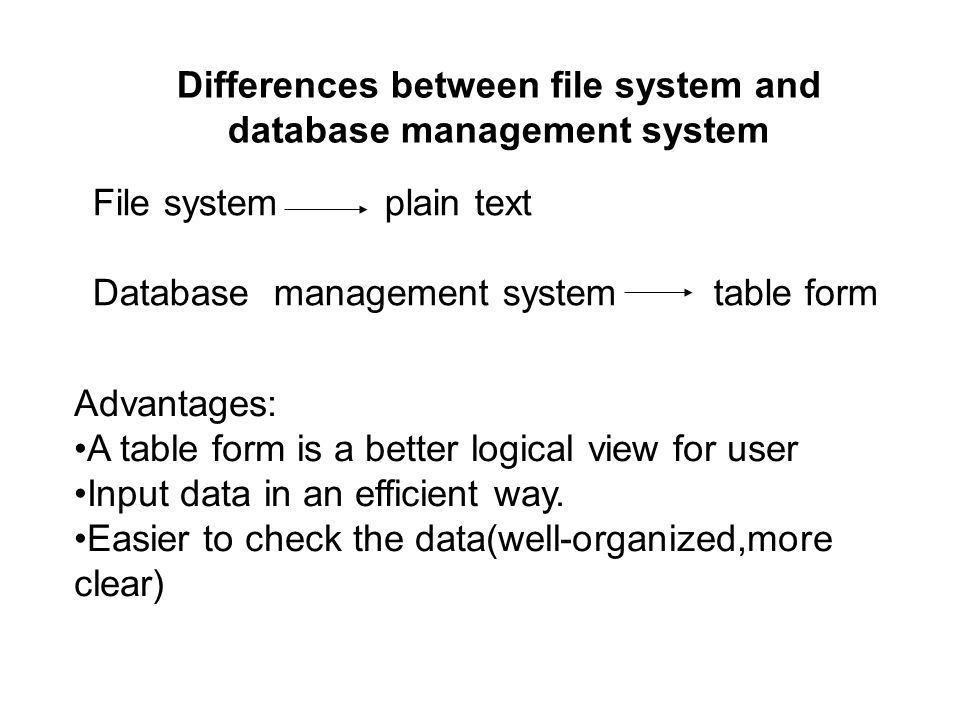 Differences between file system and database management system Advantages: A table form is a better logical view for user Input data in an efficient way.
