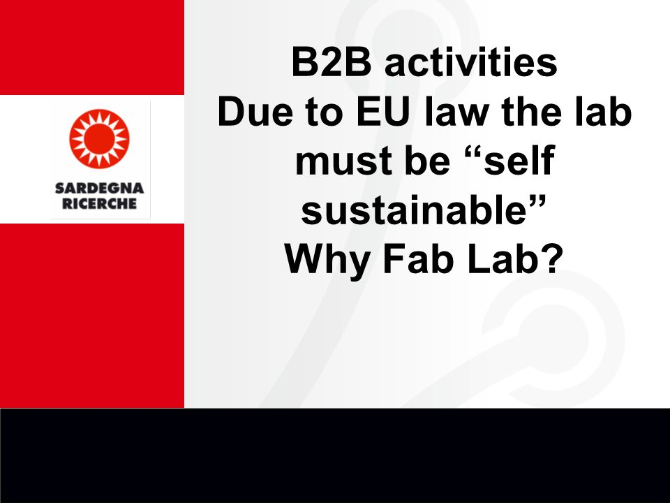 B2B activities Due to EU law the lab must be self sustainable Why Fab Lab