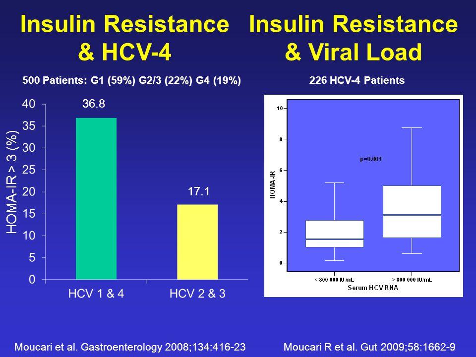 Insulin Resistance & Viral Load 226 HCV-4 Patients Insulin Resistance & HCV-4 HOMA-IR > 3 (%) 500 Patients: G1 (59%) G2/3 (22%) G4 (19%) Moucari et al.