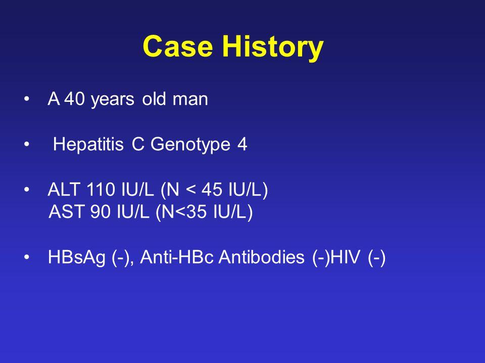 Case History A 40 years old man Hepatitis C Genotype 4 ALT 110 IU/L (N < 45 IU/L) AST 90 IU/L (N<35 IU/L) HBsAg (-), Anti-HBc Antibodies (-)HIV (-)