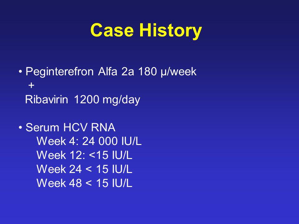 Peginterefron Alfa 2a 180 µ/week + Ribavirin 1200 mg/day Serum HCV RNA Week 4: 24 000 IU/L Week 12: <15 IU/L Week 24 < 15 IU/L Week 48 < 15 IU/L Case History