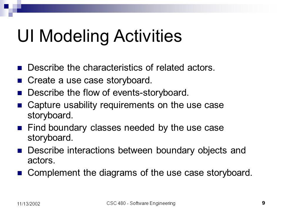 CSC 480 - Software Engineering9 11/13/2002 UI Modeling Activities Describe the characteristics of related actors.