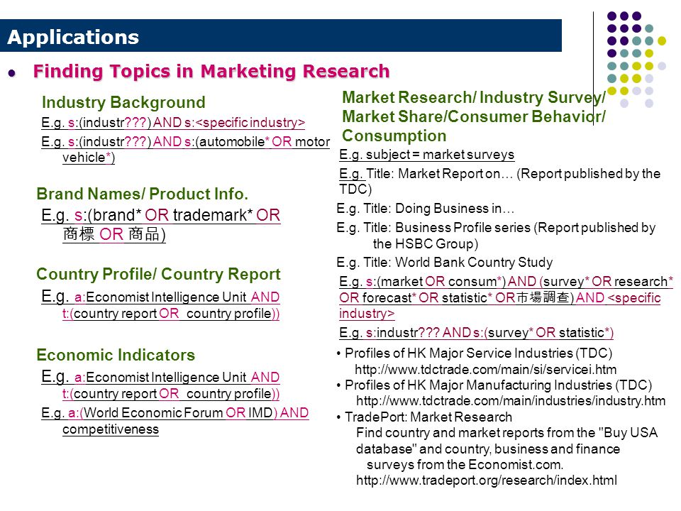 Applications Industry Background E.g. s:(industr???) AND s: E.g.