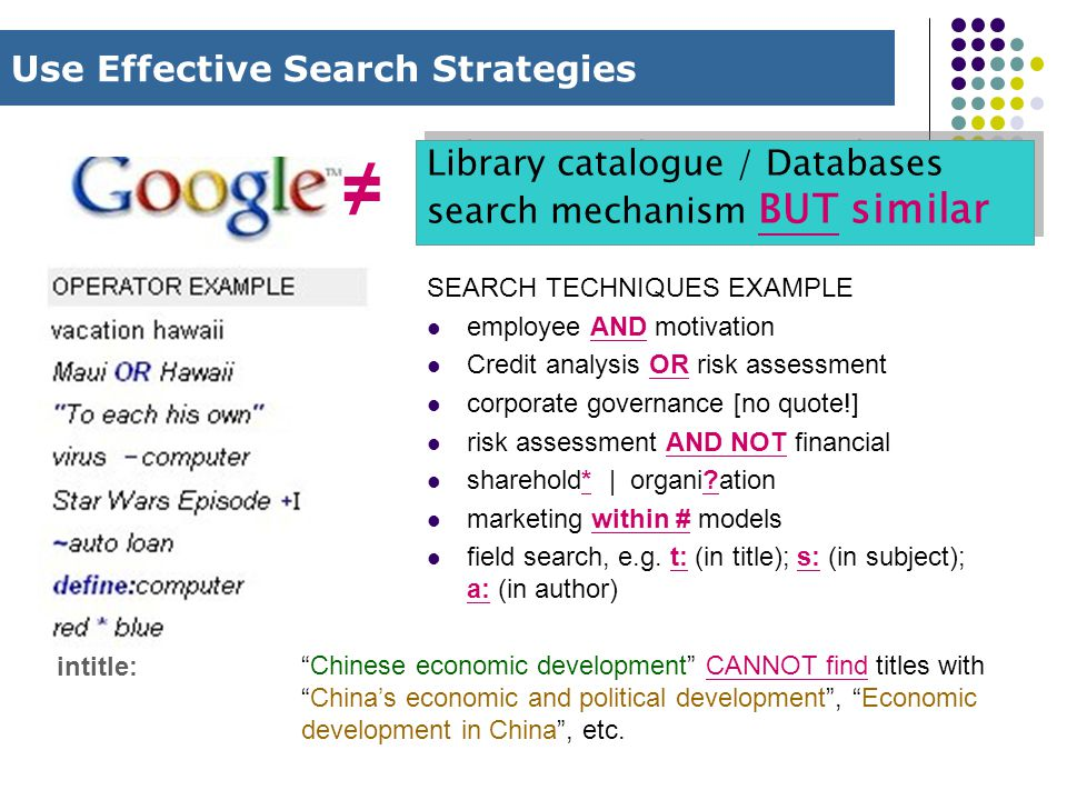 Use Effective Search Strategies Library catalogue / Databases search mechanism BUT similar intitle: ≠ SEARCH TECHNIQUES EXAMPLE employee AND motivation Credit analysis OR risk assessment corporate governance [no quote!] risk assessment AND NOT financial sharehold* | organi?ation marketing within # models field search, e.g.