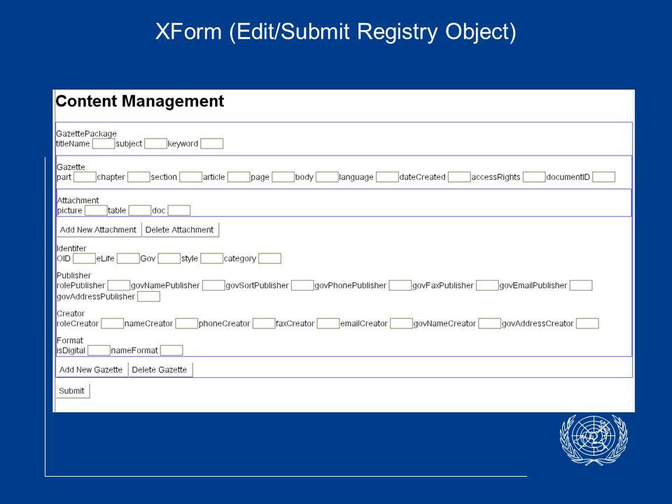 XForm (Edit/Submit Registry Object)