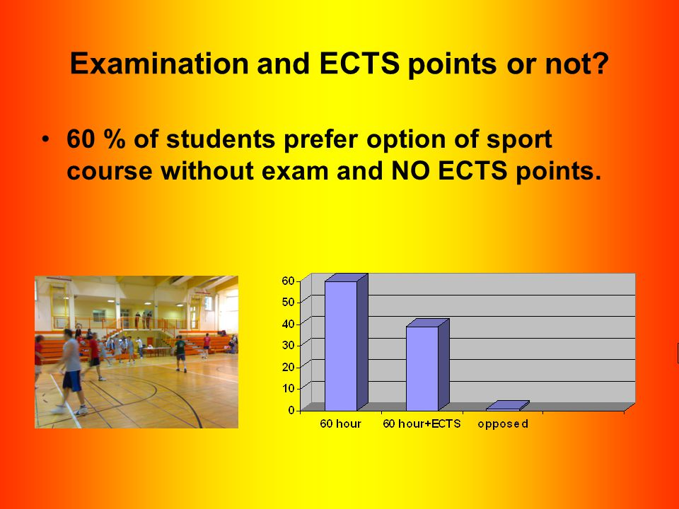 Examination and ECTS points or not? 60 % of students prefer option of sport course without exam and NO ECTS points.