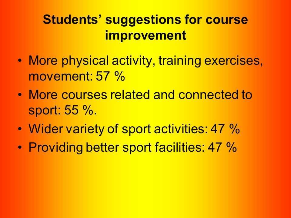 Students' suggestions for course improvement More physical activity, training exercises, movement: 57 % More courses related and connected to sport: 5