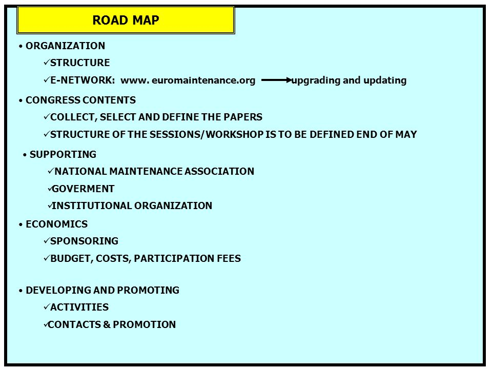 ROAD MAP ORGANIZATION STRUCTURE E-NETWORK: www. euromaintenance.org upgrading and updating CONGRESS CONTENTS COLLECT, SELECT AND DEFINE THE PAPERS STR