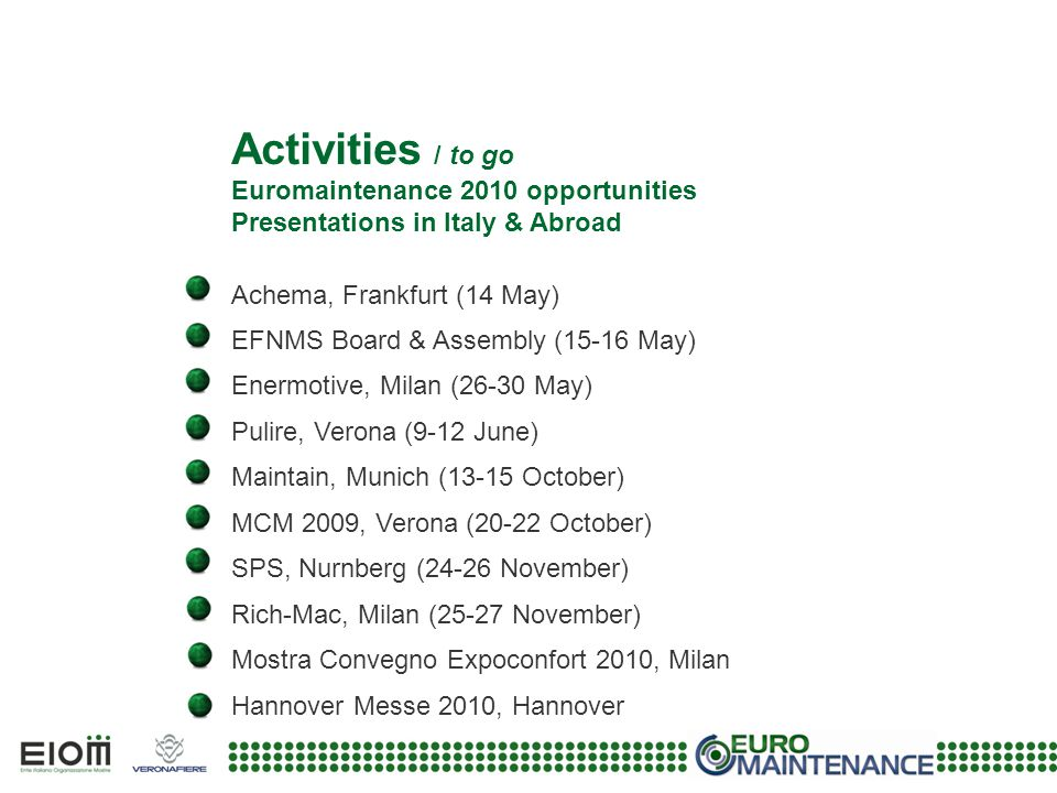 Activities / to go Euromaintenance 2010 opportunities Presentations in Italy & Abroad Achema, Frankfurt (14 May) EFNMS Board & Assembly (15-16 May) En