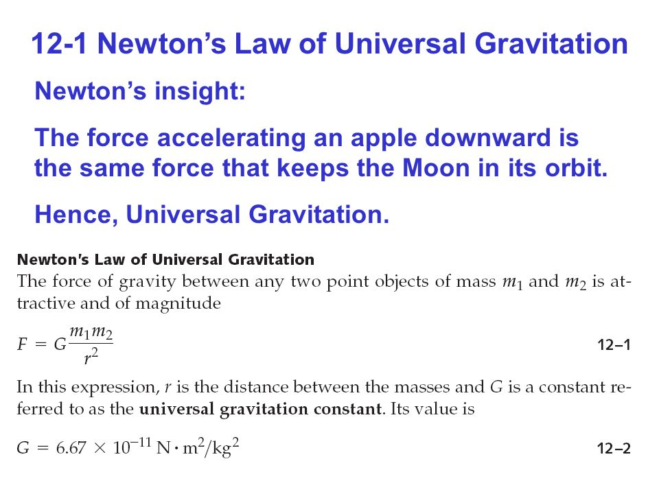12-1 Newton's Law of Universal Gravitation Newton's insight: The force accelerating an apple downward is the same force that keeps the Moon in its orbit.