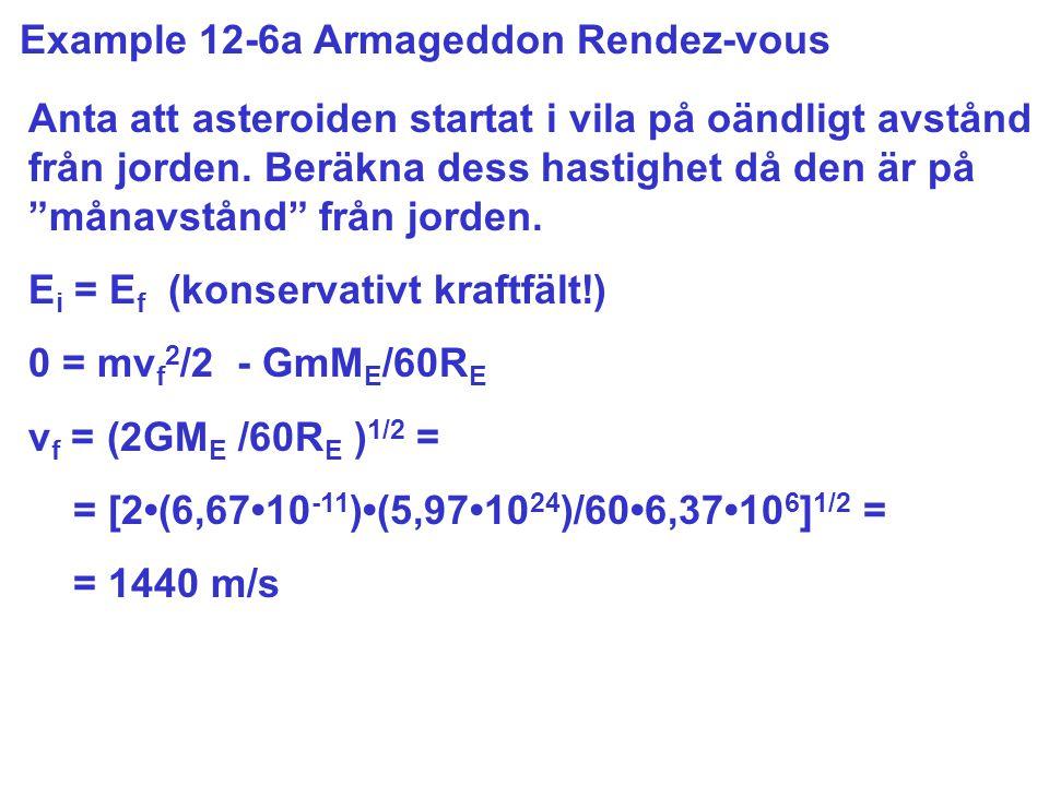 Example 12-6a Armageddon Rendez-vous Anta att asteroiden startat i vila på oändligt avstånd från jorden.