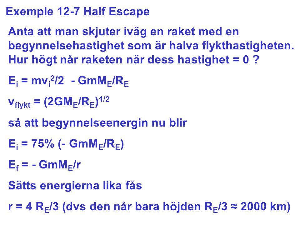Exemple 12-7 Half Escape Anta att man skjuter iväg en raket med en begynnelsehastighet som är halva flykthastigheten.