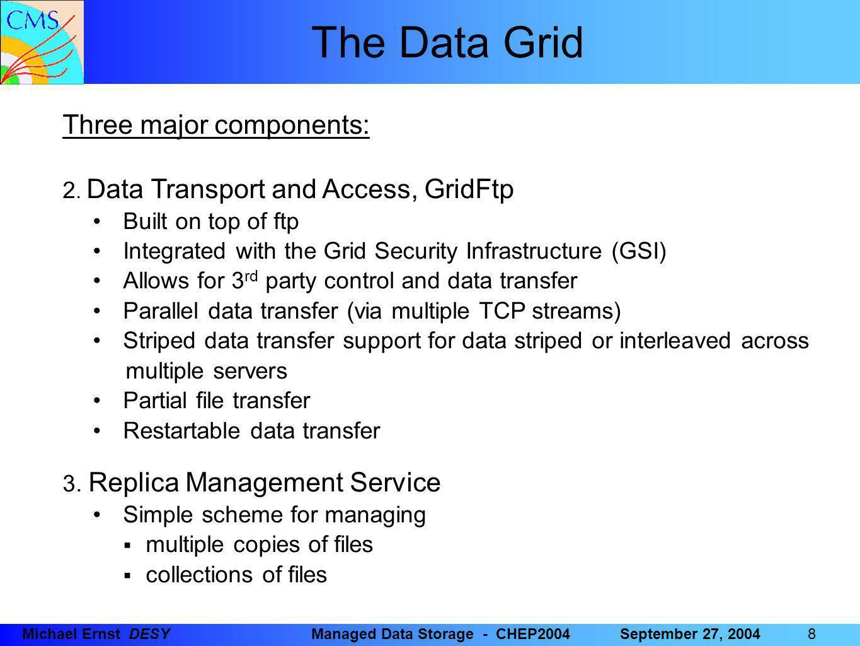 88 8Michael Ernst DESYManaged Data Storage - CHEP2004September 27, 2004 The Data Grid Three major components: 2.